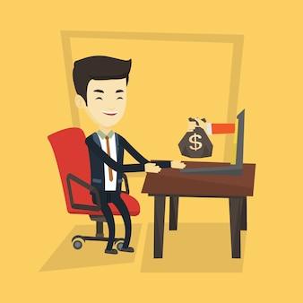 Uomo d'affari che guadagna soldi dall'affare online.