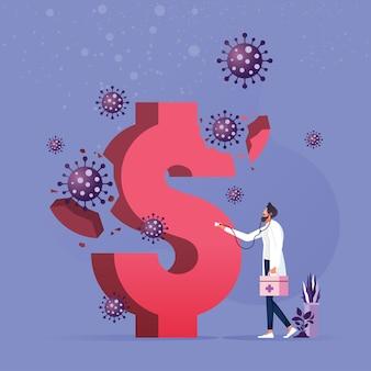Un uomo d'affari che esamina il segno del dollaro dal coronavirus