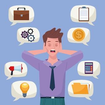 Uomo d'affari estinto per sovraccarico di informazioni con icone nell'illustrazione di bolle di discorso