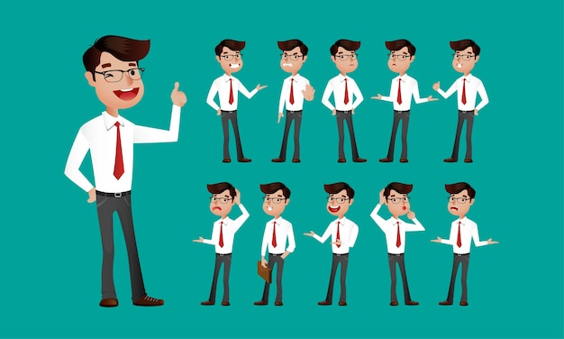 Espressioni facciali dell'uomo d'affari
