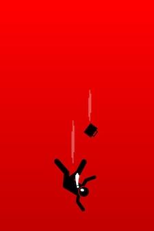 L'uomo d'affari cade nell'abissale. l'illustrazione dell'opera d'arte raffigura il concetto di problema aziendale molto profondo, crisi finanziaria e scenario impotente.
