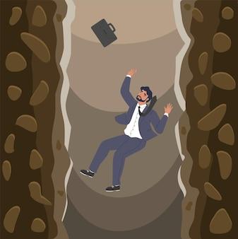 Uomo d'affari che cade sopra le scogliere nell'abisso piatto illustrazione vettoriale fallimento aziendale crisi fallimentare...