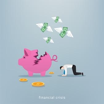 L'uomo d'affari si sente giù e depresso con il salvadanaio e il concetto di denaro.
