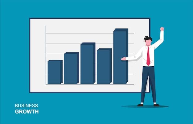 L'uomo d'affari prova gioia nel mostrare l'illustrazione del display del grafico a barre. simbolo di crescita aziendale.