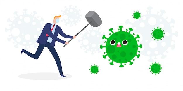 Lotta dell'uomo d'affari con coronavirus