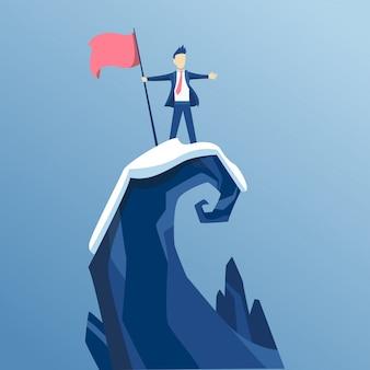 L'uomo d'affari per primo ha raggiunto la cima della montagna con una bandiera. gli uomini d'affari hanno raggiunto il suo obiettivo. vittoria e concorrenza di concetto di affari. porta al successo