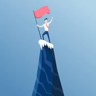 L'uomo d'affari per primo ha raggiunto la cima della montagna con una bandiera. gli uomini d'affari hanno raggiunto il suo obiettivo. vittoria e concorrenza. porta al successo