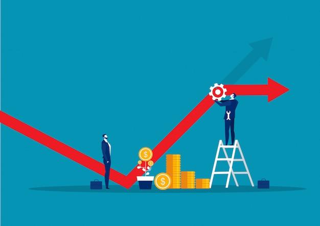 Grafico finanziario diminuente della riparazione dell'uomo d'affari con il concetto della chiave di strumento
