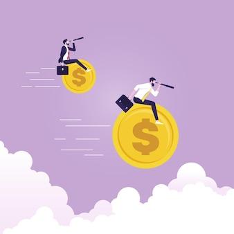 Uomo d'affari che vola sul simbolo del dollaro e tiene il cannocchiale alla ricerca del successo