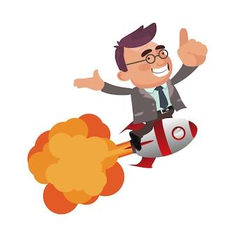 Uomo d'affari che vola via con l'illustrazione piana di vettore del jet pack