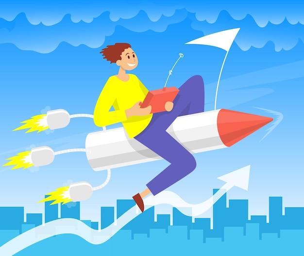 Uomo d'affari che vola su con un razzo concetto di crescita del business v fasi di salire le scale startup