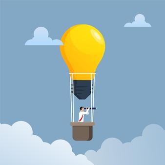 Uomo d'affari che vola con l'illustrazione della lampadina dell'aerostato di aria. concetto di affari.