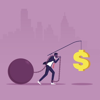 L'uomo d'affari segue il segno del dollaro di ricompensa allettante motivazione e incentivo per motivare il dipendente Vettore Premium