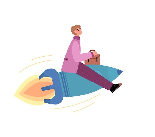 L'uomo d'affari in vestito convenzionale vola sull'illustrazione di vettore del fumetto del razzo isolata