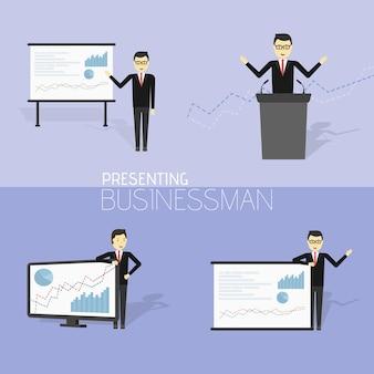 L'uomo d'affari in abito formale sta facendo una presentazione e sta mostrando grafici. personaggio dei cartoni animati - simpatico uomo d'affari. relazione, formazione. illustrazione vettoriale d'archivio in design piatto.