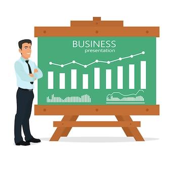 L'uomo d'affari fa una presentazione.