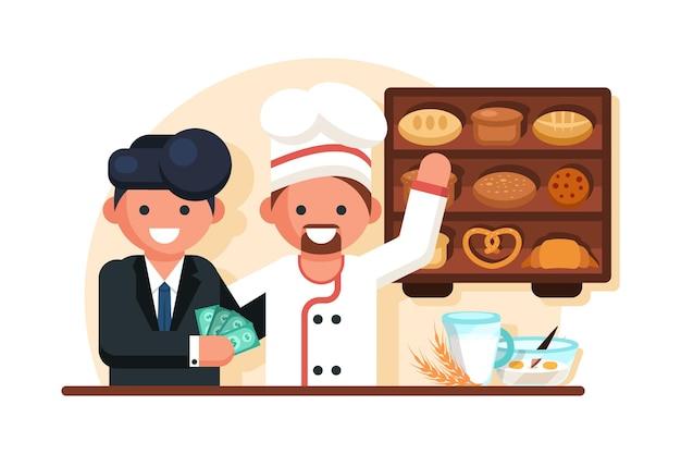Uomo d'affari dando soldi uomo chef nel panificio