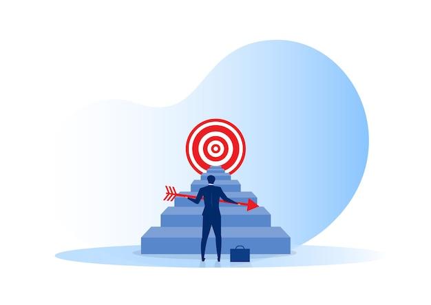 Obiettivo degli obiettivi dell'uomo d'affari e concetto di obiettivo aziendale. realizzazione e successo