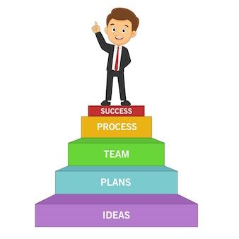 Uomo d'affari che punta al successo