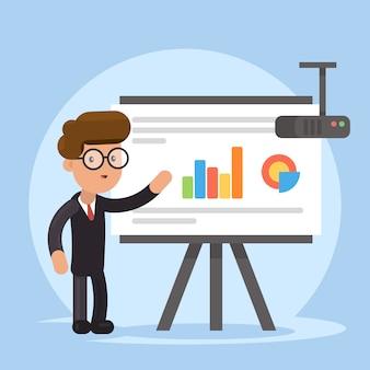 Uomo d'affari e grafici sullo schermo del proiettore