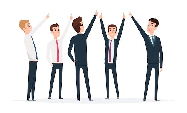 Puntamento del gruppo dell'uomo d'affari. manager di sesso maschile in piedi e indicando le illustrazioni vettoriali in direzione superiore. persone di uomo d'affari con il dito che mostra