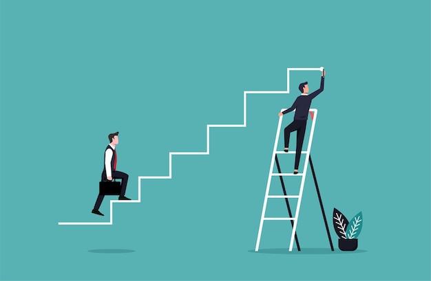 Mano dell'uomo d'affari che disegna linee per il suo partner per raggiungere l'obiettivo