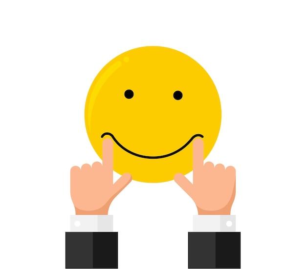 L'allungamento del dito della mano dell'uomo d'affari tira sulle labbra della bocca sull'emozione del sorriso di smiley emoji come valutazione. stile piano di concetto di recensione di cliente di qualità di reputazione di feedback online. illustrazione vettoriale eps