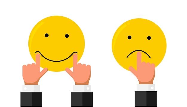 L'allungamento del dito della mano dell'uomo d'affari tira sulle labbra della bocca sul sorriso della faccina sorridente e sull'emozione triste come la valutazione. stile piano di concetto di recensione di cliente di qualità di reputazione di feedback online. illustrazione vettoriale eps