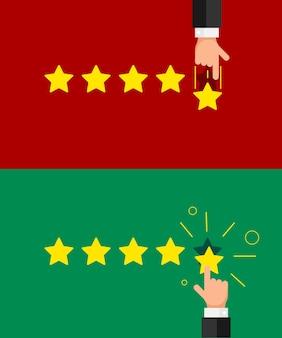 Mano dell'uomo d'affari che dà un feedback positivo e negativo negativo a cinque stelle. reputazione, qualità, concetto di stile piatto recensione cliente. illustrazione vettoriale eps10