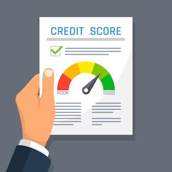 Documento di finanza di storia di credito della tenuta della mano dell'uomo d'affari con l'indicatore del punteggio. Vettore Premium