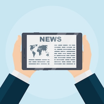 Mano dell'uomo d'affari che tiene compressa per leggere le notizie sullo schermo illustrazione