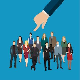 Mano dell'uomo d'affari che indica alla donna nel concetto di affari di selezione, assunzione o reclutamento del personale. illustrazione di design piatto.