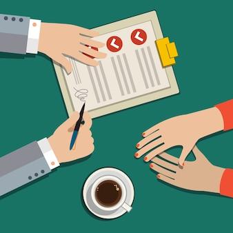 Foglio di carta del contratto di affari del segno della mano dell'uomo d'affari dopo accordo, design piatto alla moda, vista dall'alto.