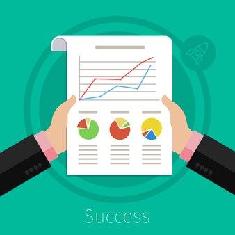 Mani dell'uomo d'affari occupate con carta e grafico e grafico finanziario. stile di design piatto.