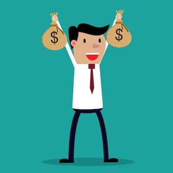 Mani dell'uomo d'affari che tengono la borsa dei soldi