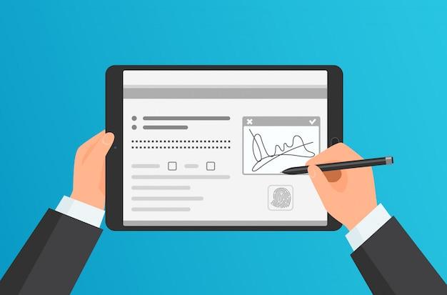 Firma di digital delle mani dell'uomo d'affari che firma sulla compressa moderna. concetto.
