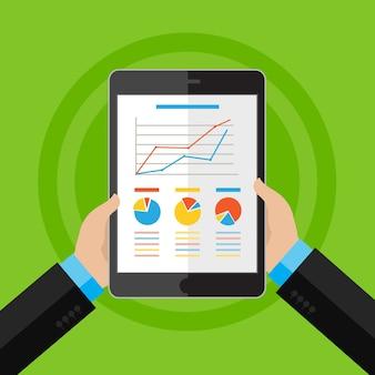 Mani dell'uomo d'affari con grafico finanziario e grafico. stile di design piatto. Vettore Premium