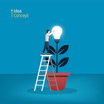 Imprenditore la raccolta della lampadina della luce dal concetto di albero. nuova idea e illustrazione della creatività