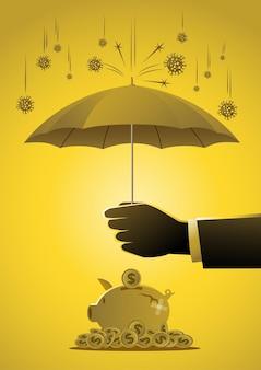 Un uomo d'affari teneva un ombrello per proteggere il salvadanaio dal concetto di risparmio di denaro covid19