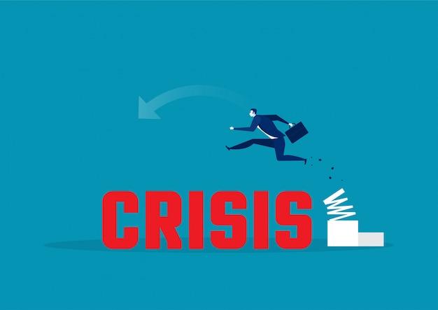Uomo d'affari salti alti sulla crisi