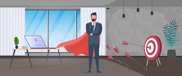 L'uomo d'affari colpisce il bersaglio. colpisci il centro del bersaglio con una freccia. uomo d'affari con un mantello rosso. ufficio. il concetto di motivazione e risultati negli affari. vettore.