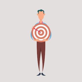 Uomo d'affari tenere il bersaglio. concetto di business di targeting e cliente.