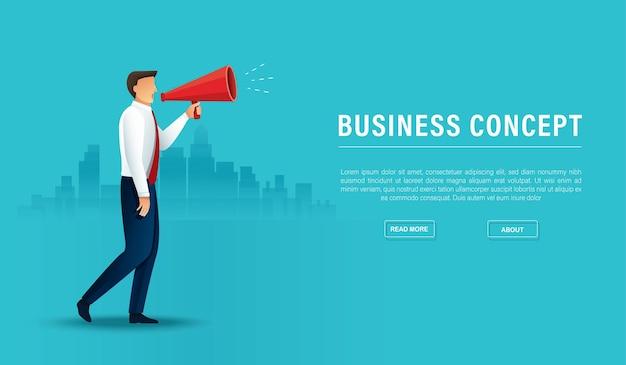 Altoparlante del megafono della stretta dell'uomo d'affari. concetto di marketing