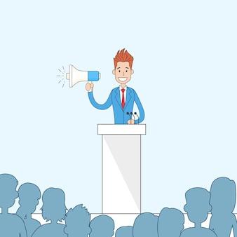 Discorso tribune del supporto dell'uomo d'affari hold megaphone loudspeaker