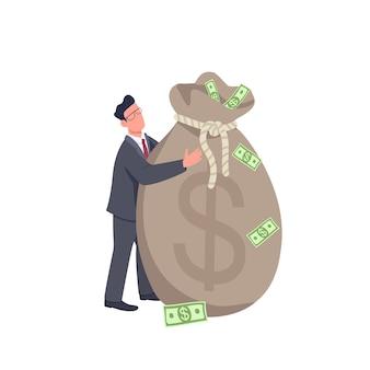 Uomo d'affari che tiene l'illustrazione piana di concetto della grande borsa dei soldi