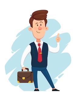 Uomo d'affari che tiene una valigetta e che indica