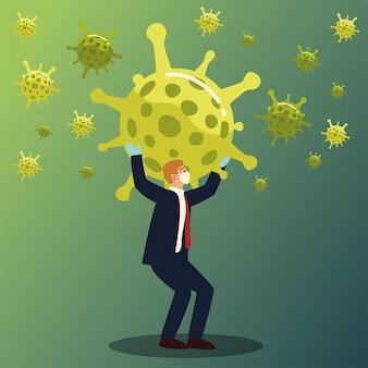 Uomo d'affari che tiene il disegno del virus covid 19 dell'illustrazione di vettore di tema di cov e coronavirus di 2019 ncov