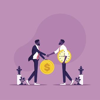 Uomo d'affari che tiene in mano una moneta da un dollaro che cerca di guadagnare tempo da un altro orologio che tiene in mano il tempo è denaro