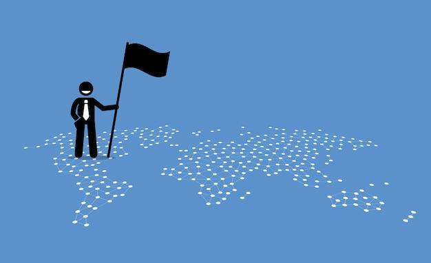 Un uomo d'affari che tiene una bandiera e che sta in cima agli stati uniti di una mappa del mondo.