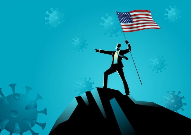 Uomo d'affari che tiene la bandiera degli stati uniti in cima alla montagna